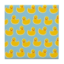 Cute Ducky Pattern Tile Coaster