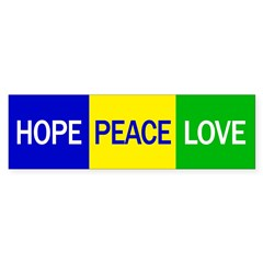 Hope, Peace, Love (bumper sticker)