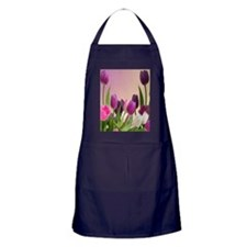 Purple and White Tulips Apron (dark)