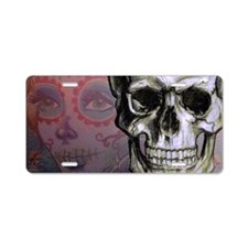 Skull with Dia de los Muert Aluminum License Plate