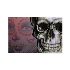 Skull with Dia de los Muertos wom Rectangle Magnet
