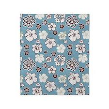 Tropical Hibiscus Carolina Blue Throw Blanket