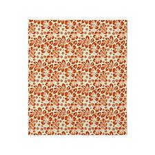Tropical Carolina Hibiscus Orange Throw Blanket