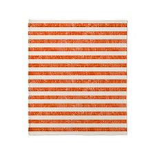 Vintage Orange and White Beach Strip Throw Blanket