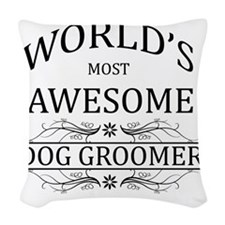 dog groomer Woven Throw Pillow