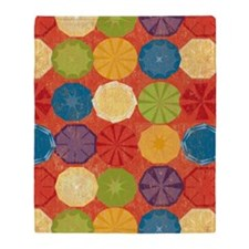 Colorful Beach Umbrellas Summer Oran Throw Blanket