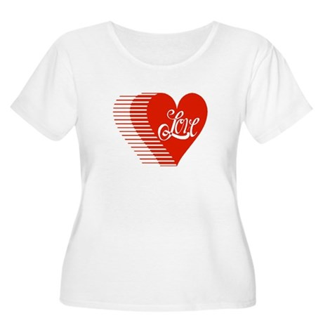 Love Heart Women's Plus Size Scoop Neck T-Shirt