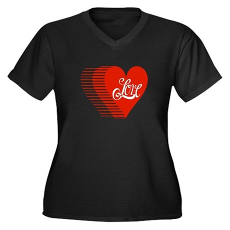 Love Heart Women's Plus Size V-Neck Dark T-Shirt