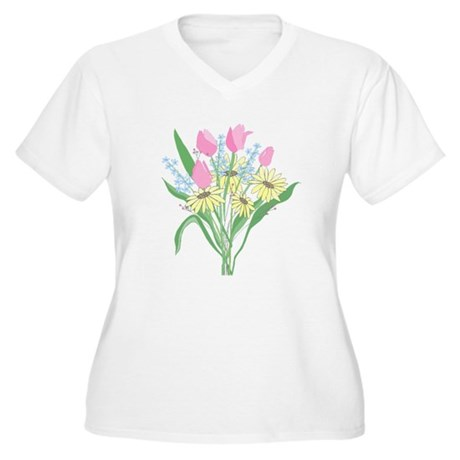 Valentine Bouquet Women's Plus Size V-Neck T-Shirt
