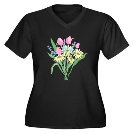 Valentine Bouquet Women's Plus Size V-Neck Dark T-