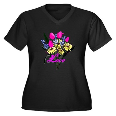 Love Bouquet Women's Plus Size V-Neck Dark T-Shirt
