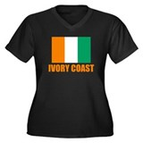 Ivory Coast Flag t Shirts Women's Plus Size V-Neck