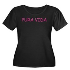 PURA VIDA Women's Plus Size Scoop Neck Dark T-Shir