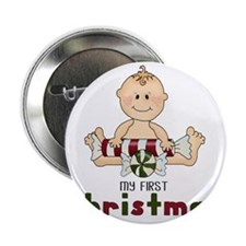 "First Christmas (Boy 4 Design 2.25"" Button"