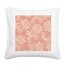 Shabby Chic Soft Floral Damas Square Canvas Pillow