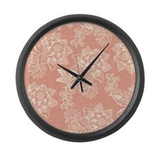 Shabby Chic Soft Floral Damask Large Wall Clock