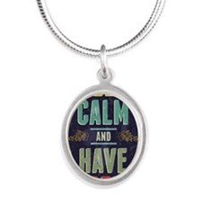Keep Calm And Have A Beer Silver Oval Necklace