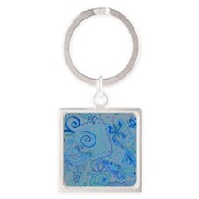 Shades of Blue Square Keychain