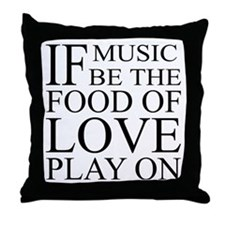 Music-Food-Love Quote Throw Pillow
