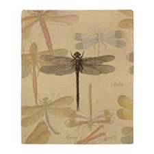 Dragonfly Vintage Throw Blanket