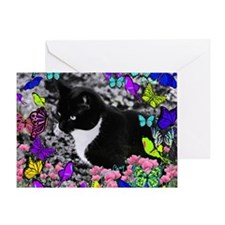 Freckles the Tux Cat in Butterflies  Greeting Card