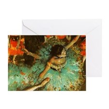 Degas Dancer Green Ballet Impression Greeting Card