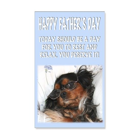 Happy Fathers Day Lazy Dog In Bed 20x12 Wall Decal