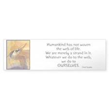 Chief Seattle Quote & Heron Bird Bumper Bumper Sticker