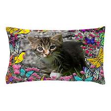 Emma Tabby Kitten in Butterflies Pillow Case