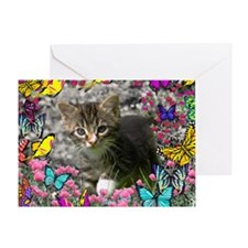 Emma Tabby Kitten in Butterflies Greeting Card