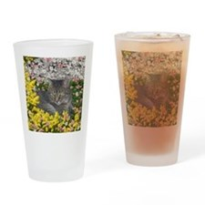 Mimosa the Tiger Cat in Mimosa Flow Drinking Glass