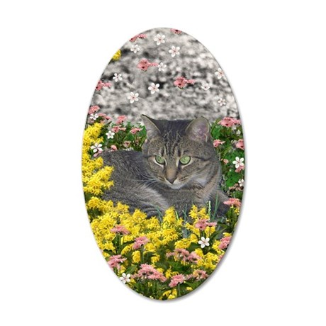 Mimosa the Tiger Cat in Mimo 35x21 Oval Wall Decal