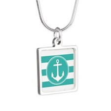 Turquoise nautical anchor stripes Necklaces