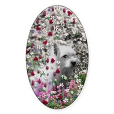 Violet the White Westie in Flowers Decal