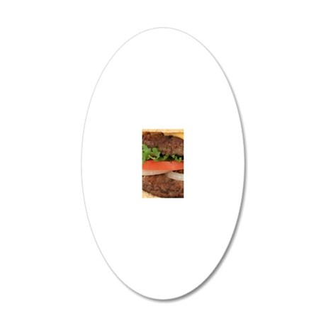Big Juicy Hamburger 20x12 Oval Wall Decal