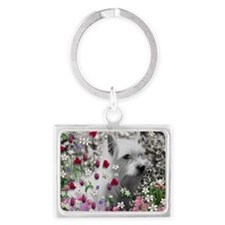 Violet the White Westie in Flow Landscape Keychain