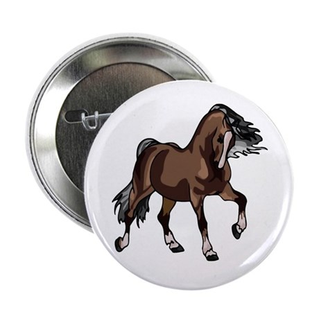 "Spirited Horse Dark Brown 2.25"" Button (100 pack)"