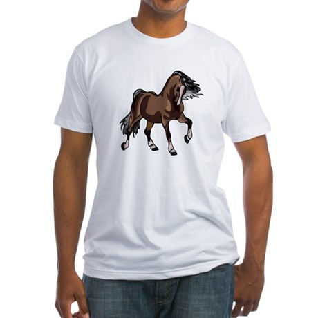 Spirited Horse Dark Brown Fitted T-Shirt