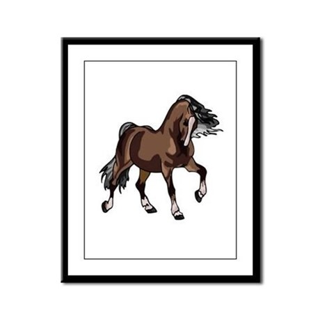 Spirited Horse Dark Brown Framed Panel Print