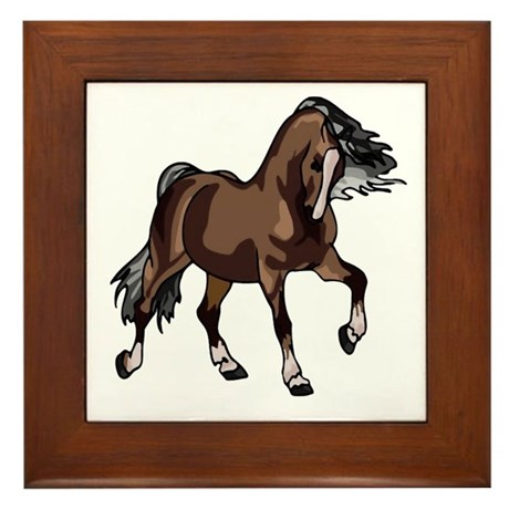 Spirited Horse Dark Brown Framed Tile
