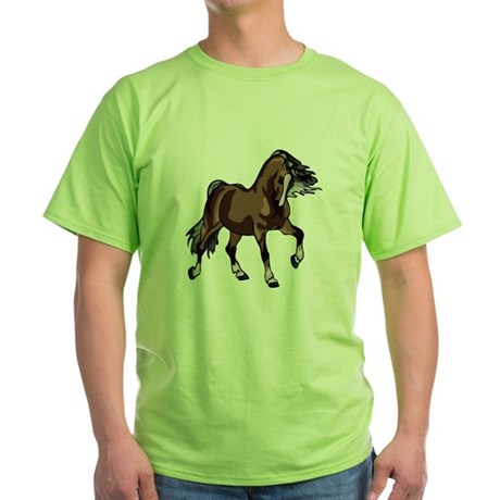 Spirited Horse Dark Brown Green T-Shirt