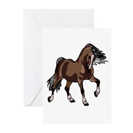 Spirited Horse Dark Brown Greeting Cards (Package