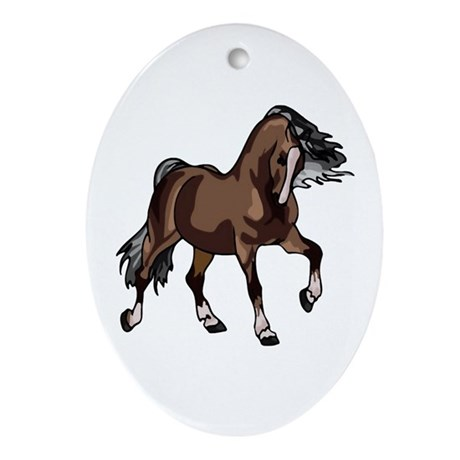 Spirited Horse Dark Brown Oval Ornament