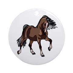 Spirited Horse Dark Brown Ornament (Round)