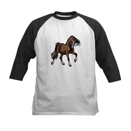 Spirited Horse Dark Brown Kids Baseball Jersey