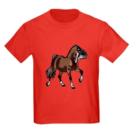 Spirited Horse Dark Brown Kids Dark T-Shirt