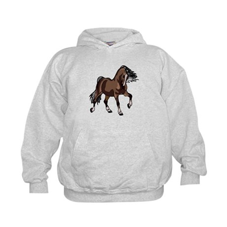 Spirited Horse Dark Brown Kids Hoodie