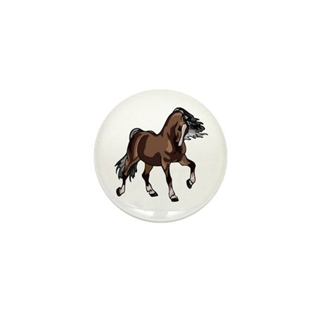 Spirited Horse Dark Brown Mini Button