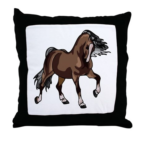 Spirited Horse Dark Brown Throw Pillow