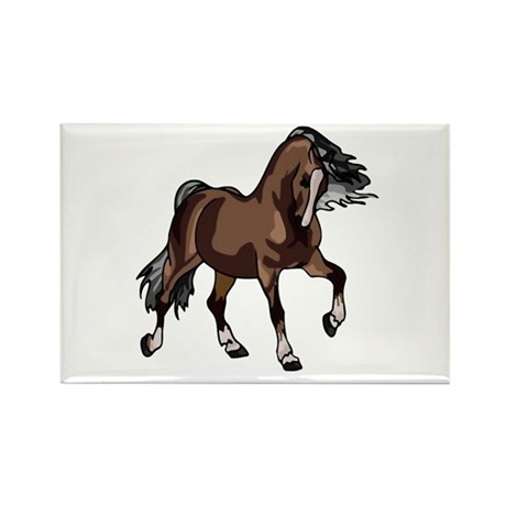 Spirited Horse Dark Brown Rectangle Magnet (100 pa